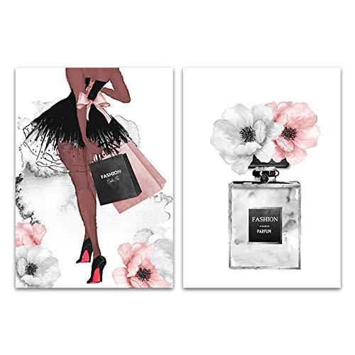 hdbklhjxk parfum fles kunst schilderij mode wandkunst canvas druk pioenroos bloemenaffiche Vogue wandafbeeldingen voor meisjes kamer wooncultuur 40x60cmx2 niet ingelijst