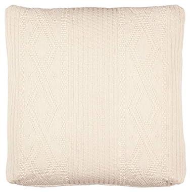 Stone & Beam Transitional Plush Knit Pillow, 19 , Ivory