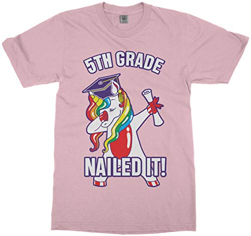 Dabbing Rainbow Unicorn 5th Grade Graduation Nailed It Youth T-Shirt | L Pink