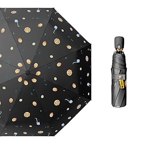 Taosheng Paraguas automático femenino súper llamativo sol de dos usos (color negro)