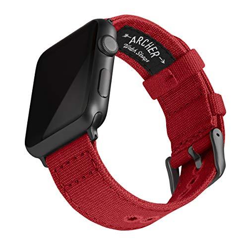 Archer Watch Straps - Canvas Uhrenarmband für Apple Watch (Karminrot, Space Grau, 42/44mm)