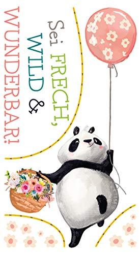 dekodino® Wandtattoo Kinderzimmer Sprüche Panda Blumen - Frech, wild, wunderbar