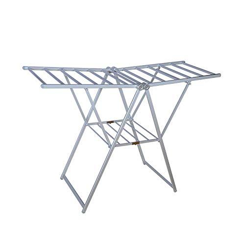 ZGQA-GQA en forma de ala de escalera de aluminio de doble uso doméstico engrosamiento de espiga plegable Suelo secado Panel de doble Tendedero Secado Bastidores (Color: Plata, tamaño: 160 * 60 * 108cm