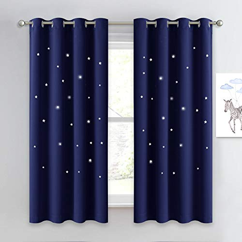 NICETOWN Children Blue Blackout Curtain - Hollow Star Space Inspired Night Sky Twinkle Christmas Star Curtain, Window Drape for Bedroom (1 Panel, 52 x 63 inches Panel, Navy Blue)