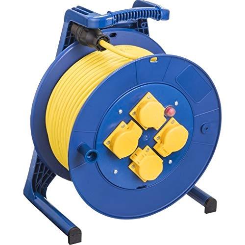 JUMBO® L Kabeltrommel mit 4 Steckdosen H07RN-F Leitungsfarbe gelb, Querschnitt 3 x 1,5 mm², Länge 50 m