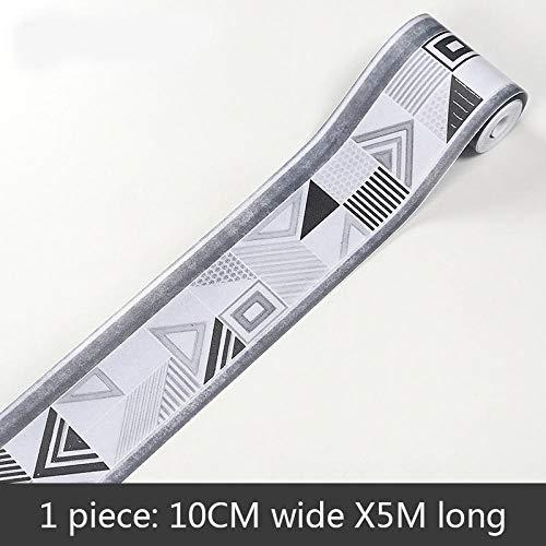 Tapete bordüre Graue Serie Entfernbare selbstklebende wasserdichte für Wohnzimmer Badezimmer Schlafzimmer Küche Aufkleber Wanddeko 10 x 500 cm