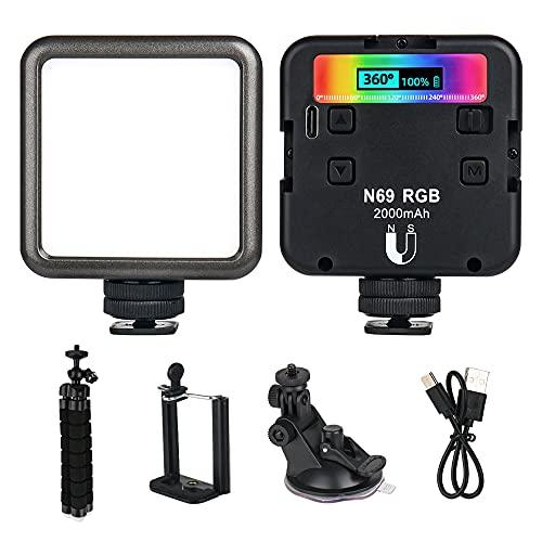 LED Videolicht, MOPOIN Videoleuchte Licht RGB Kamera Licht Dauerlicht Klein Dimmbare 2500K-9000K, LED Fotolicht mit Akku und Stativ, Magnetadsorption, Selfie Licht für DSLR Camcorder Smartphone