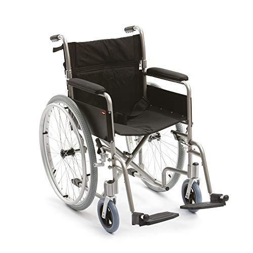 DSHUJC Silla de Ruedas autopropulsada de Aluminio Ligera de la Asistencia Sanitaria, Anchura de Asiento de 18 Pulgadas