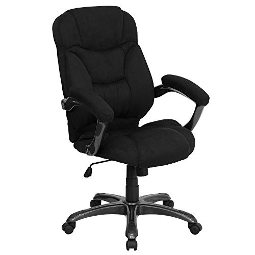 Flash Furniture High Back Black Microfiber Contemporary Executive Swivel Ergonomic Office Chair with Arms, BIFMA Certified