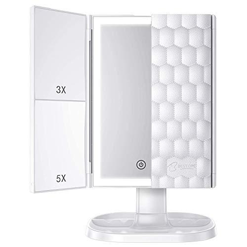 BESTOPE Schminkspiegel mit 3 Modi, beleuchteter Spiegel, 3 x / 5 x Vergrößerung, Kosmetikspiegel mit Touchscreen-Schalter