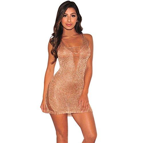 TUDUZ Damen Bodycon Camouflage Gaze Durchsichtig Sheer Kleider Abendkleid Pailletten Partykleid (Roségold-B, L)