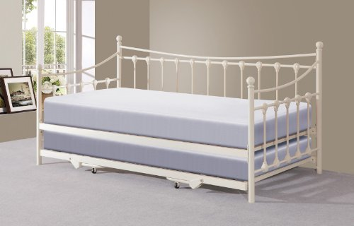 Right Deals UK Memphis 3ft Single Day Bed Trundle - Ivory Black (Ivory)