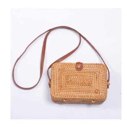 Women Messenger Bags Woven Rattan Shoulder Bag Small Beach Handbags-26-19x13x6cm