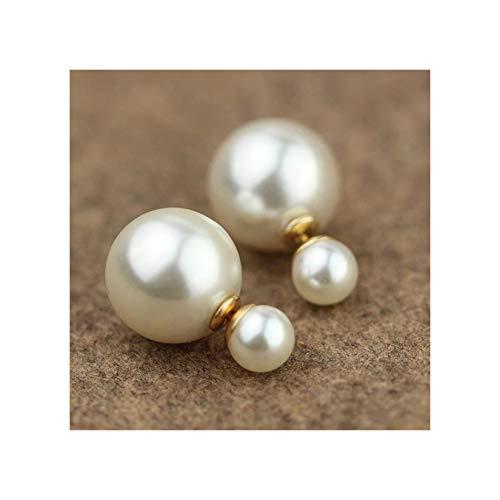 LORIEL Pendiente de perlas de imitación para mujer, diseño simple asimétrico doble cara perla blanca pendiente moda joyería