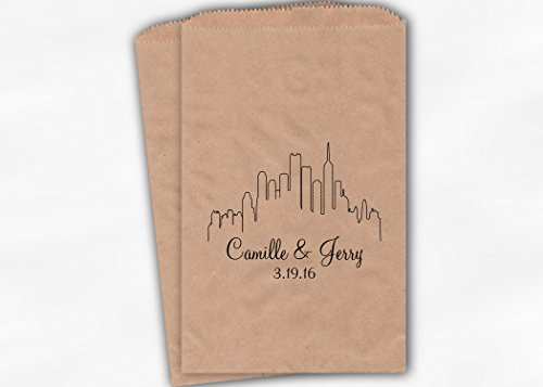 City Skyline Wedding Favor Bags for Candy Buffet in Black - Personalized Set of 25 Kraft Paper Bags (0159)