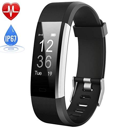 NBWS–Brazalete de Fitness con pulsómetro, podómetro Reloj Pulso Reloj Resistente al Agua IP67podómetro Actividad Tracker Bluetooth Smart Watch Reloj de Pulsera, para niños Mujer Hombres, Negro