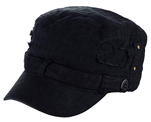 D&Y Unisex Distressed Patched Button Waffle Cadet Military Cap, Black