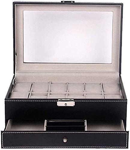 Caja de Relojes de Cuero Caja de reloj Inicio Caja de reloj de 12 bits cuero de la PU de doble capa caja de reloj de gama alta exhibición de la joyería Caja de almacenamiento for los regalos a la fami