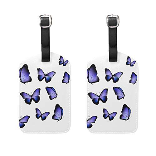 Etichetta per bagaglio, 2 pezzi, porta targhette per indirizzo, targhetta identificativa per tessere, accessori da viaggio per borsa da viaggio, valigia, stampa con farfalle viola