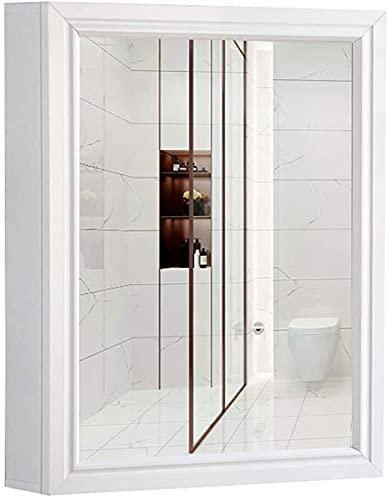 Espejo Gabinete Espacio de aleación de aluminio de la puerta Individual Aseo Apartamento pequeño plataforma de baño de múltiples capas de la caja de almacenaje de alta Claro Claro espejo impermeable