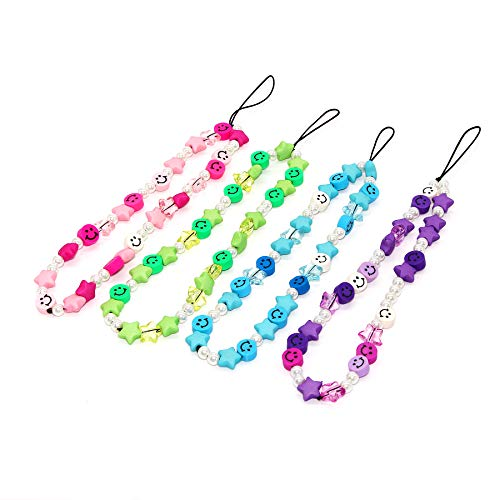 Women Fashion Phone Lanyard Decoration Cell Phone Pendant Colorful Star Smiley Soft Ceramic with Anti Lost Mobile Phone Chain