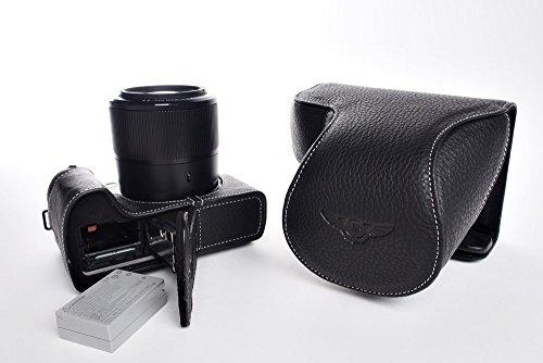 TP Handgemaakte Echt Lederen Full Camera Case Bag Cover voor Canon G3X G3 X 24-600mm Lens Bodem Opening Zwarte Kleur