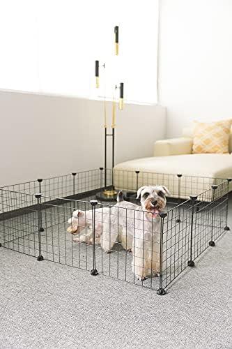ALLISANDRO Parc pour Cochon d'Inde de Lapin [Panneaux de 35x35cm X12] Cage pour Petit Animal avec Porte Clôture Portative Intérieure Clôture Petit Chiot Chenil Tente de Clôture de Caisse
