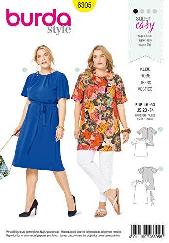 Burda Schnittmuster 6305, Shirt und Kleid [Damen, Gr. 46-60] zum selber nähen, ideal für Anfänger [L1]