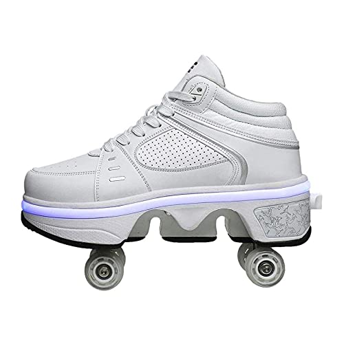 HANHJ Multifunktionale Einstellbare Rollschuhe LED Leuchten Skateboarding Schuhe Mit Rädern Sneaker Komfortable Stilvolle Laufschuhe,White-36