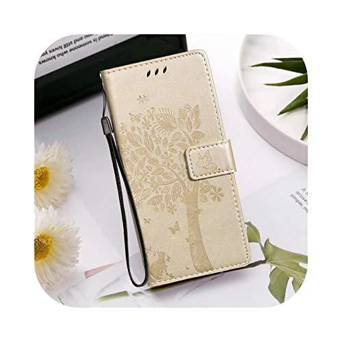 Funda con tapa para Samsung Galaxy A7 A20, A30, A40, A50, A60, A70, A80, A90, A51, A71 y A41 con ranuras para tarjetas de crédito, color dorado