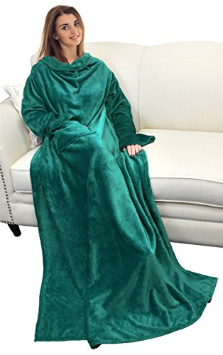 Catalonia Wearable Blanket with Sleeves and Pocket, Cozy Soft Fleece Mink Micro Plush Wrap Throws Blanket Robe for Women and Men 73 x 51