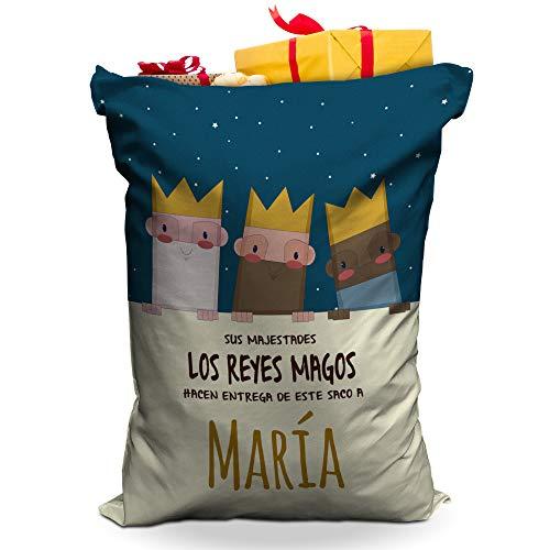 LolaPix Saco Reyes Magos Personalizado con Nombre. Regalos Navidad Personalizados. Varios diseños y tamaños a Elegir. Reyes Magos