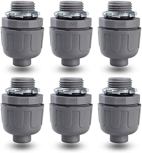 YXX-TECH1/2 Npt Nonmetallic Liquid-Tight Electrical Conduit Connector Fitting,,UL Listed, (6 PACK) (1/2)