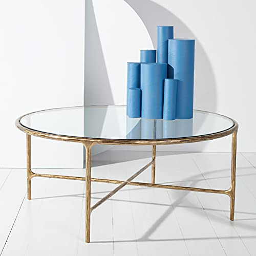 SAFAVIEH Couture Home Collection Jessa Brass Metal/Tempered Glass Top Round Coffee Table (Fully Assembled) SFV9501A