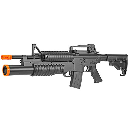 BBTac Airsoft Gun Electric Rifle Full Auto with Burst 3 Round Launcher, Rail System, Powerful AEG Shoot 6mm BBS
