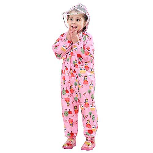 yorkyork Chubasquero 3D con botones para niños, impermeable, transpirable, con capucha, para niños y niñas, ligero, con visera transparente de PVC para niños de 1 a 10 años