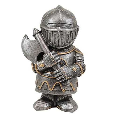BMBN Estatua Adorno de jardín, Caballero Gnomos Guardia Estatuas de jardín Escultura de Resina Adorno Decoración Caballero Cruzado Medieval Traje Estatua Armadura gótica