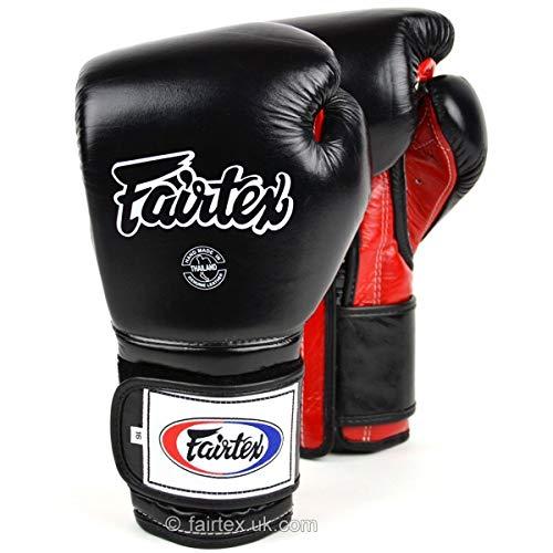 Fairtex Guantes de boxeo BGV9 estilo mexicano negro rojo Muay Thai Sparring...