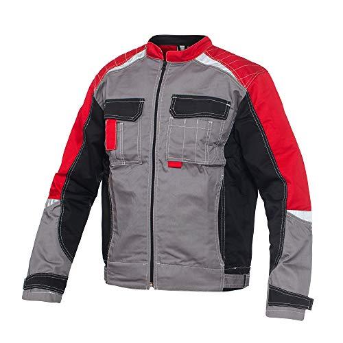 BWOLF Techno - Giacca da lavoro da uomo e da donna con elementi riflettenti in grigio/rosso/nero Grigio/rosso/nero M