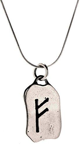 Kiss of Leather Runen Anhänger Fehu aus 925 Sterling Silber mit Silberkette 41-66 cm