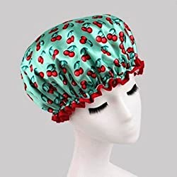 becbd29a8b7 FashionBoutique is cherry-themed green cap is a reusable stylish accessory  which will significantly transform your shower experience.