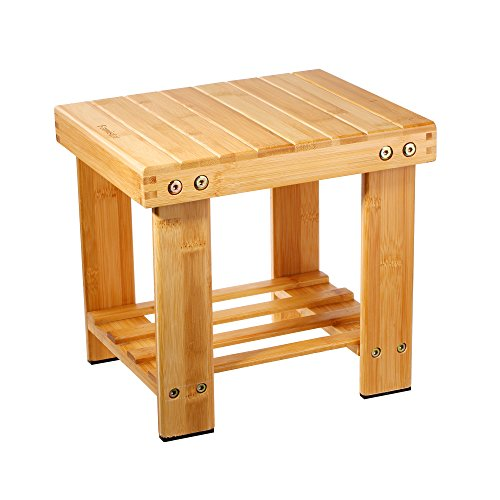 Famistar Bamboo Step Stool for Kids Children Adult,Anti-Slip Lightweight Chairs Seat with Storage...