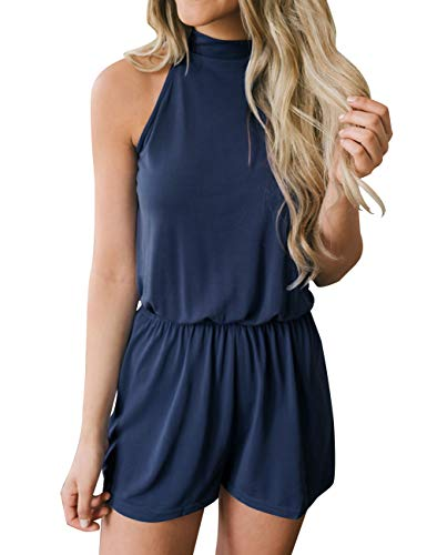 MEROKEETY Women's Summer Halter Neck Shorts Elastic Waist Solid Color Jumpsuit Rompers