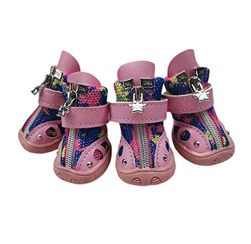 Zapatos Deportivos Perro Protector Durable De La Pata, Transpirable Malla Botas Zapatos Suave Suela Antideslizante Botas Protector De La Pata para Perros Pequeños