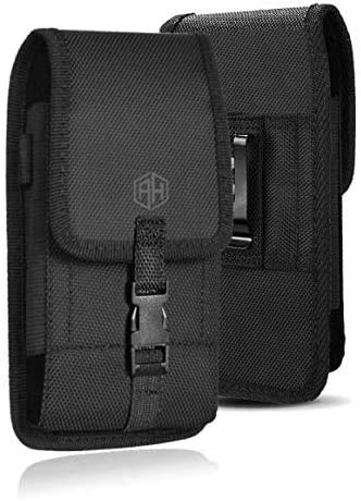 Military Grade Cell Phone Belt Holder Pouch, for iPhone 11 12 Pro Max XS Max, Samsung LG Plus Rugged Canvas Nylon Cell Phone Holsters Hanging Bag Fits Thick Case (Large)