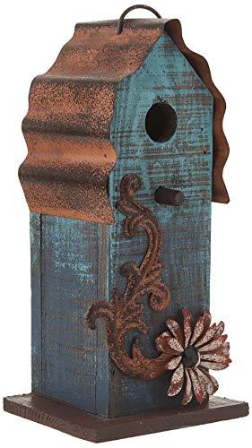 "Carson - Aqua Blue w/ Red Flower Wood & Tin Roof 10"" Hanging Birdhouse"
