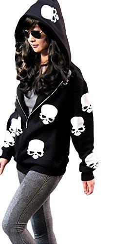 Damen Sweatshirt Women Sweatjacken Mit Kapuze Langarm Zipper Vintage Totenköpfe Gemustert Herbst Winter Casual Hoodie Pullover Kapuzenpullover
