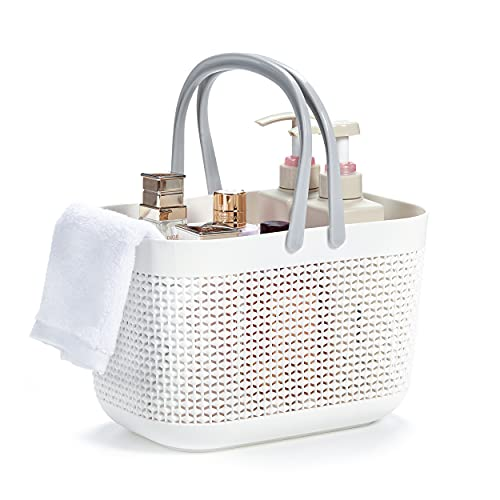 FANWU Shower Caddy Basket Tote for College Dorm Room Essentials, Plastic Storage Basket with Handles Portable Organizer bins for Kitchen Bathroom Bedroom Toiletry Laundry Garden Pool Beach (White)