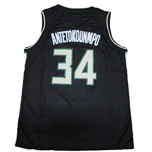 OLJB Giannis Antetokounmpo Milwaukee Bucks - Camiseta de baloncesto para hombre 34 #, cómoda y transpirable de malla, ideal para Hip Hop, fiestas, regalos negro-S