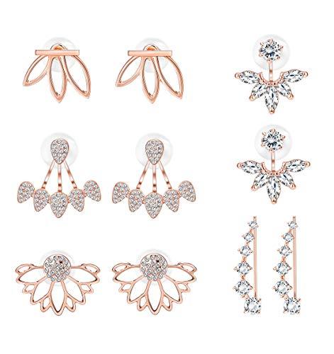 Milacolato 5 pairs Hollow Lotus Flower Ear Jackets For Women Girls Ear Stud Simple Chic Earrings